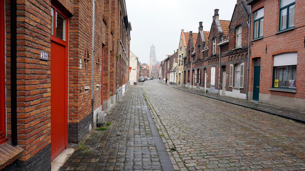 You could find empty streets a bit outside - Bruges, Belgium